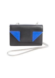 Saint Laurent black and cobalt blue leather 'Mini Betty' chain strapp small shoulder bag