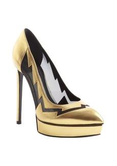 Saint Laurent black and gold leather semi sheer accent platform pumps