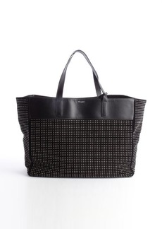 Saint Laurent black and silver leather accent suede beaded detail tote bag