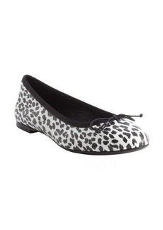 Saint Laurent black and white cheetah printed leather bow detail flats
