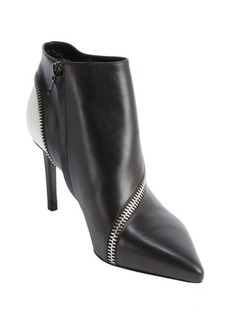 Saint Laurent black and white leather zipper detail ankle booties