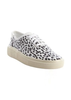 Saint Laurent black and white leopard print leather lace up sneakers