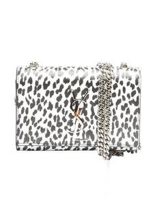 Saint Laurent black and white leopard print leather 'YSL' shoulder bag