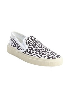 Saint Laurent black and white leopard printed canvas slip on loafers