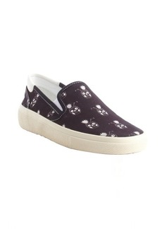 Saint Laurent black and white tropical drink printed canvas slip on loafers