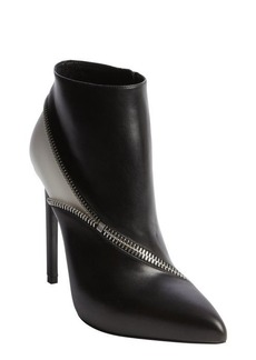 Saint Laurent black and white zipper seam heel ankle booties