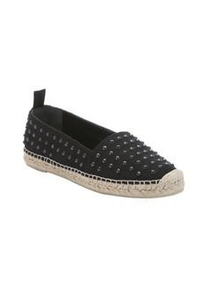Saint Laurent black canvas spiked espadrille loafers