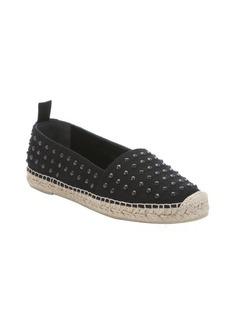 Saint Laurent black canvas spiked espadrille loafers