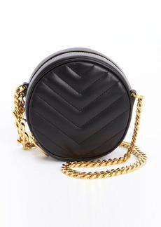 Saint Laurent black chevron quilted circle chainlink shoulder bag