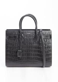 Saint Laurent black embossed leather 'Sac De Jour' small convertible top handle tote