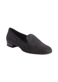 Saint Laurent black glitter leather loafers