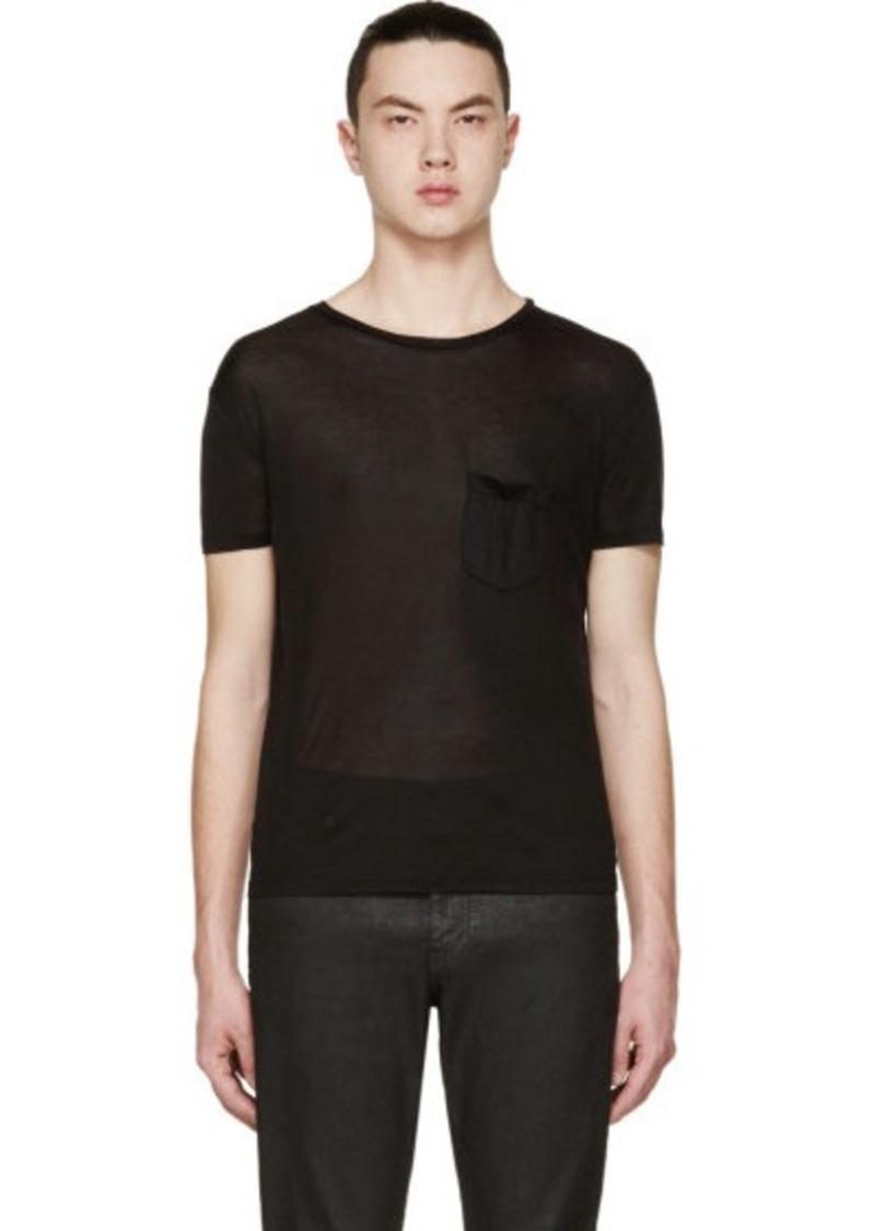 yves saint laurent saint laurent black knit silk classic t shirt t shirts shop it to me. Black Bedroom Furniture Sets. Home Design Ideas