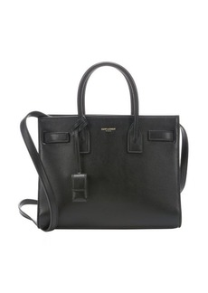 Saint Laurent black leather 'Baby Sac De Jour' convertible tote bag