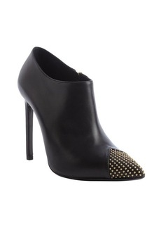 Saint Laurent black leather beaded cap toe ankle booties