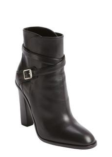 Saint Laurent black leather buckle strap ankle boots