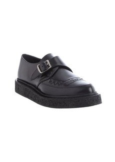 Saint Laurent black leather bucklestrap loafers