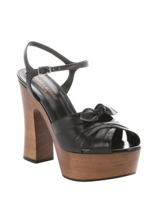 Saint Laurent black leather 'Candy' bow detail platform sandals