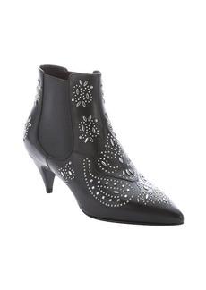 Saint Laurent black leather 'Cat' studded ankle boots