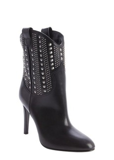 Saint Laurent black leather 'Debbie' studded detail boots