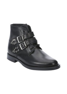 Saint Laurent black leather double buckle studded boots
