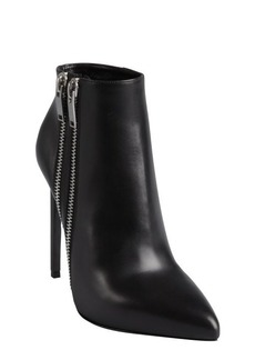 Saint Laurent black leather double zipper detailed pointed toe ankle boots