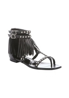 Saint Laurent black leather fringe detail thong t-strap sandals
