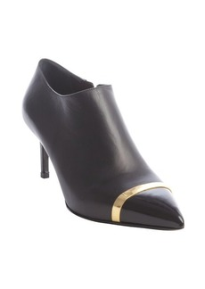 Saint Laurent black leather gold strap pointed toe booties