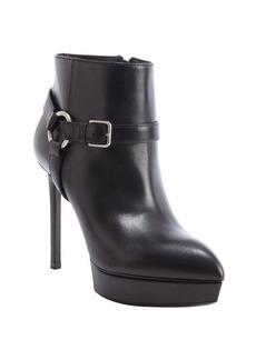 Saint Laurent black leather harness detail heel 'Janis' booties