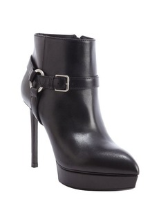 Saint Laurent black leather harness detail heel 'Janis' booties