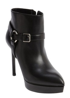 Saint Laurent black leather harness detail platform heel booties