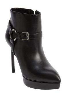 Saint Laurent black leather harness detail platform heel booties