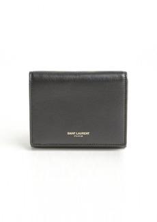 Saint Laurent black leather logo stamp french wallet