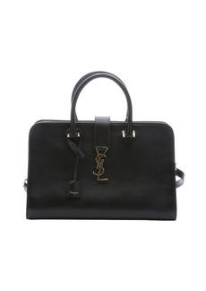 Saint Laurent black leather 'Medium Cabas Monogram' top handle tote