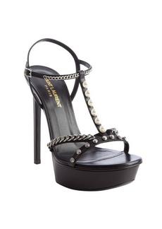 Saint Laurent black leather pearls and chains detail platform pumps
