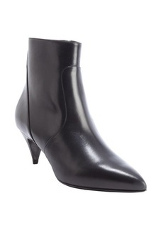 Saint Laurent black leather pointed toe kitten heel ankle boots