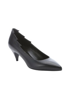 Saint Laurent black leather pointed toe kitten pumps