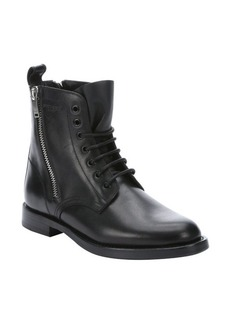 Saint Laurent black leather 'Rangers' side zip combat ankle booties