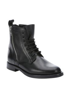 Saint Laurent black leather 'Rangers' side zip combat ankle booties