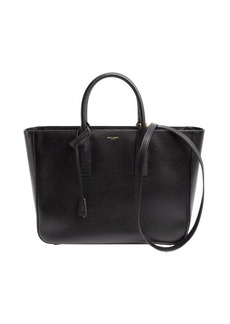 Saint Laurent black leather shopping tote
