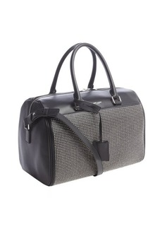 Saint Laurent black leather silver studded large convertible bag