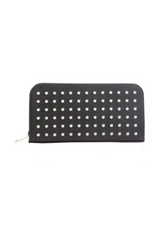 Saint Laurent black leather silver studded ziparound continental wallet
