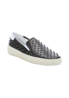 Saint Laurent black leather spiked slip-on loafers