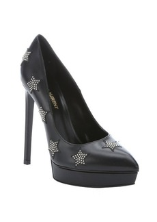 Saint Laurent black leather star studded pointed toe platform pumps