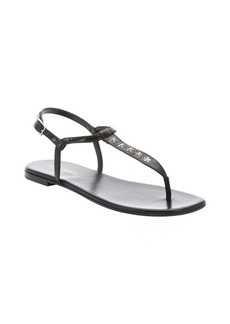 Saint Laurent black leather star studded toe thong slingback sandals