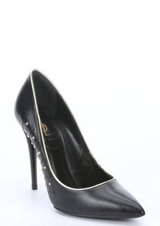 Saint Laurent black leather stud detail stiletto pumps