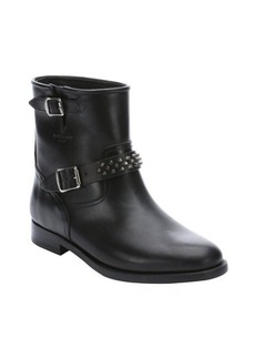 Saint Laurent black leather studded ankle boots