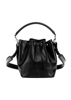 Saint Laurent black leather studded convertible hobo bag