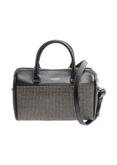 Saint Laurent black leather studded detail convertible top handle duffle bag
