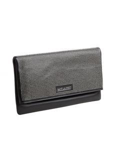 Saint Laurent black leather studded foldover clutch