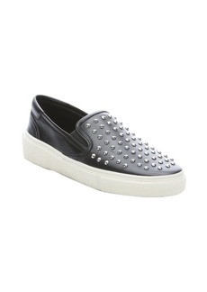 Saint Laurent black leather studded slip-on sneakers